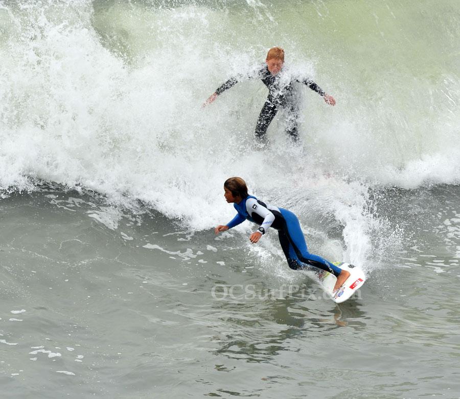 kid surfers at Huntington Beach