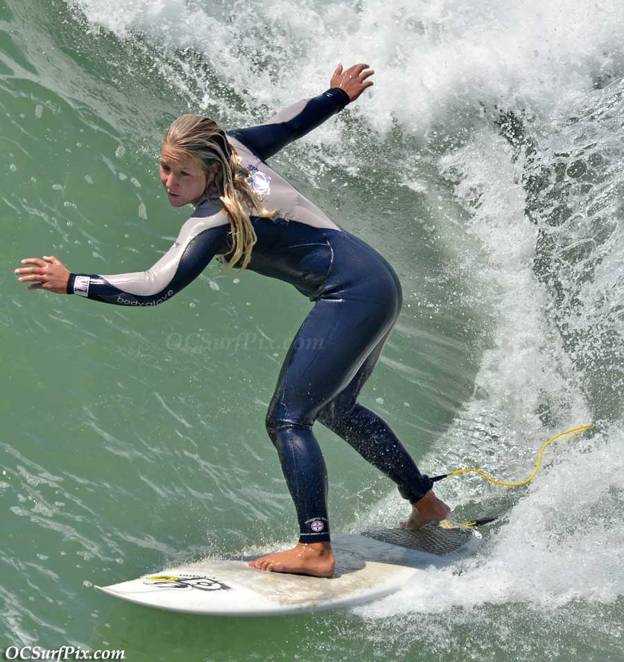 female surfer at huntington beach