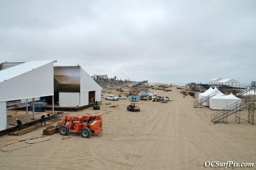 huntington beach surfing competition construction