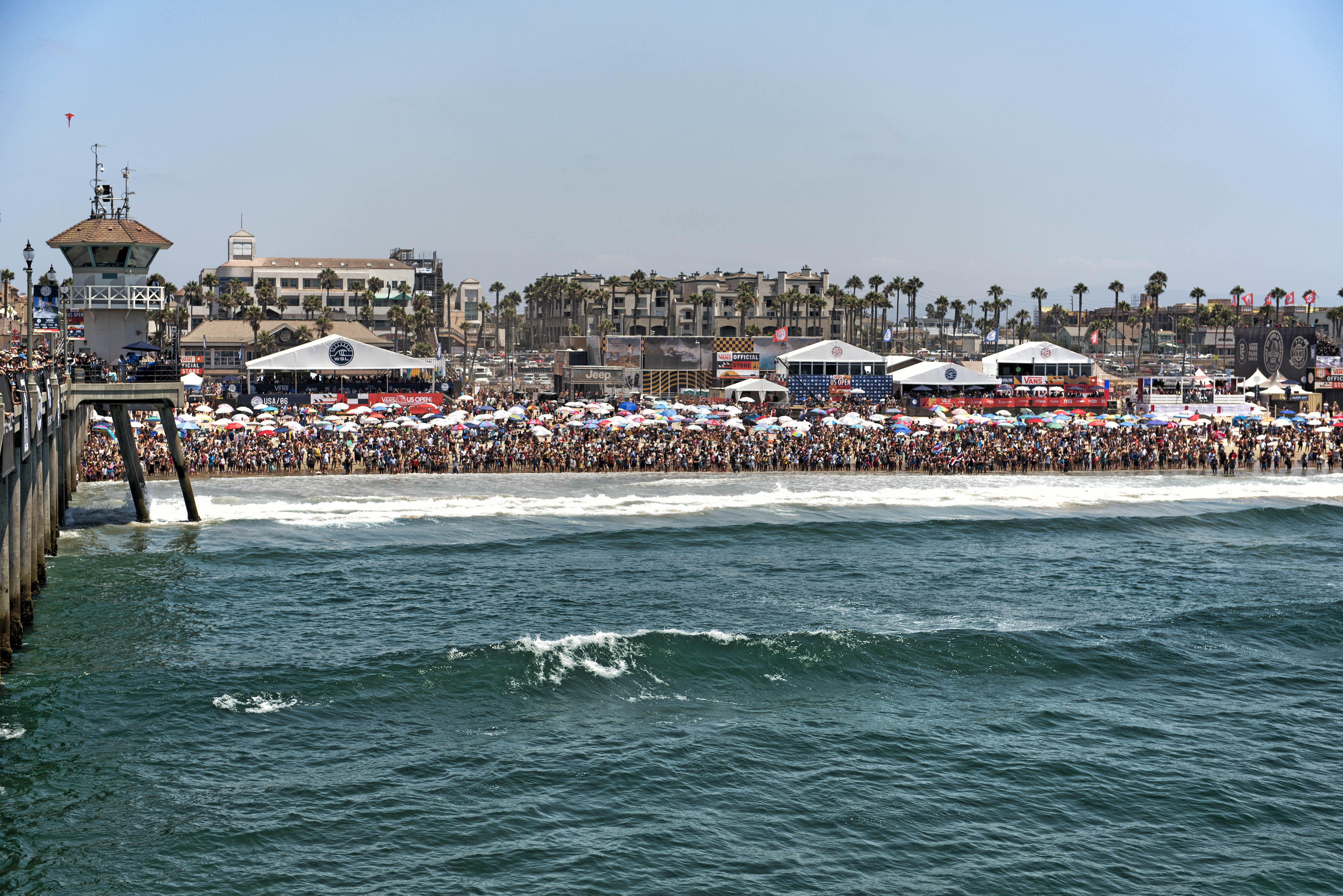 5e3cc15a5d Photo looking south to the beach from the Huntington Beach pier to the  crowds at the US Open of Surfing. As you can see